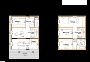 Modulhaus Hoch2 Grundriss Typ B1.2 zweistöckig